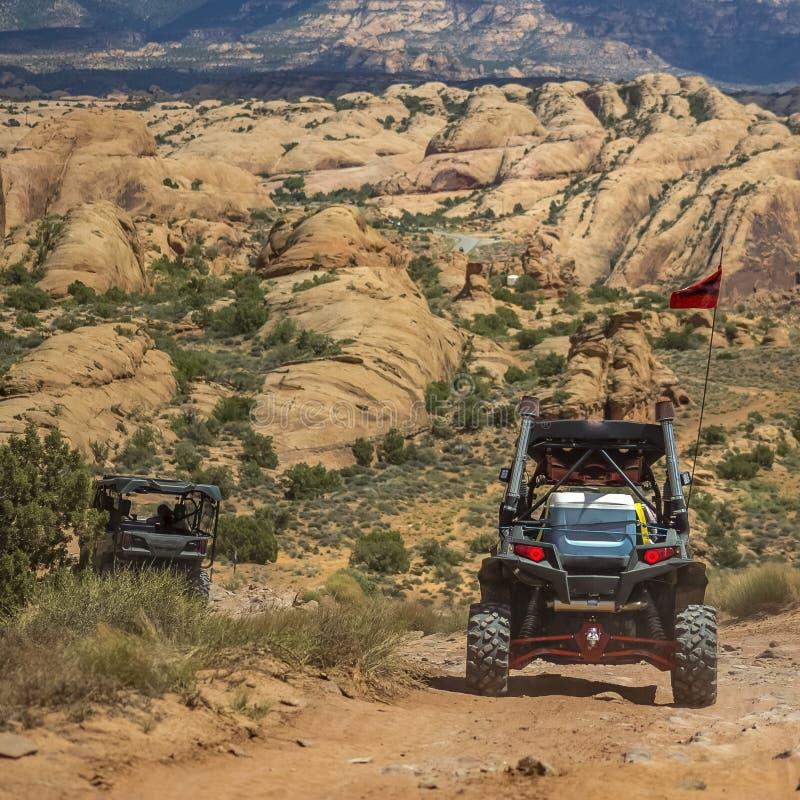 Off road vehicle in the rough terrain of Moab Utah stock image