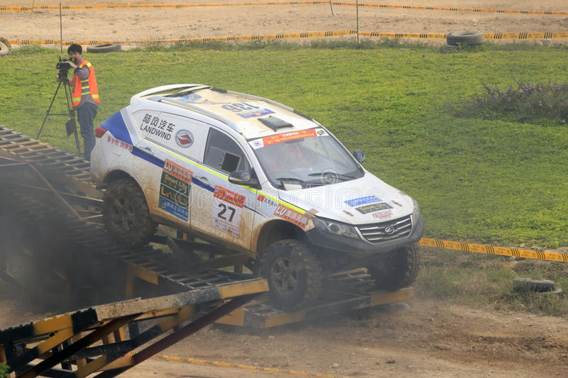 Off-road vehicle take thick smoke. Off-road vehicle take heavy smoke in xiamen city speedway, china royalty free stock images