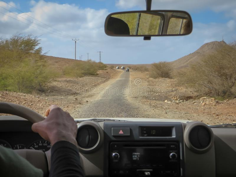 Off-road vehicle tour on Boa Vista Island. Cape Verde, Africa royalty free stock photo