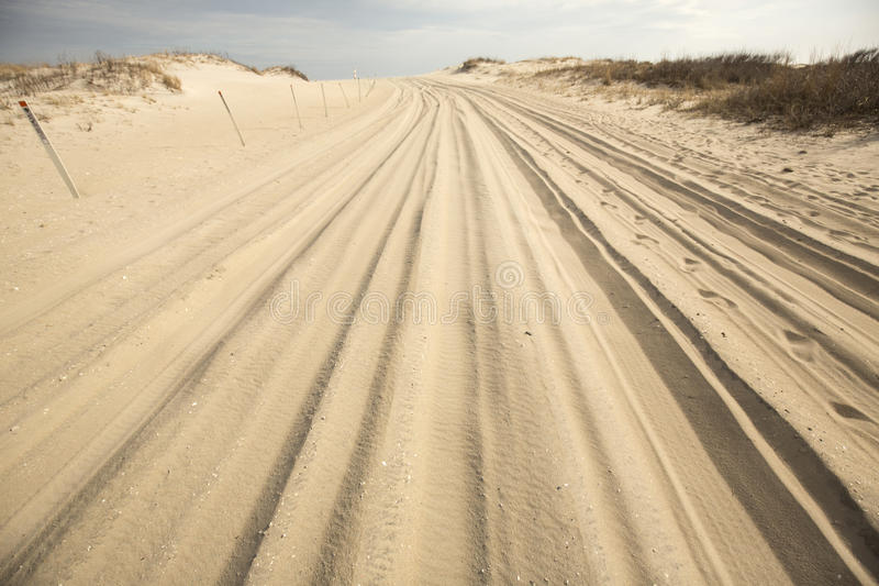 Off-road vehicle trail in the sand on Assateague Island, Maryland. royalty free stock photography