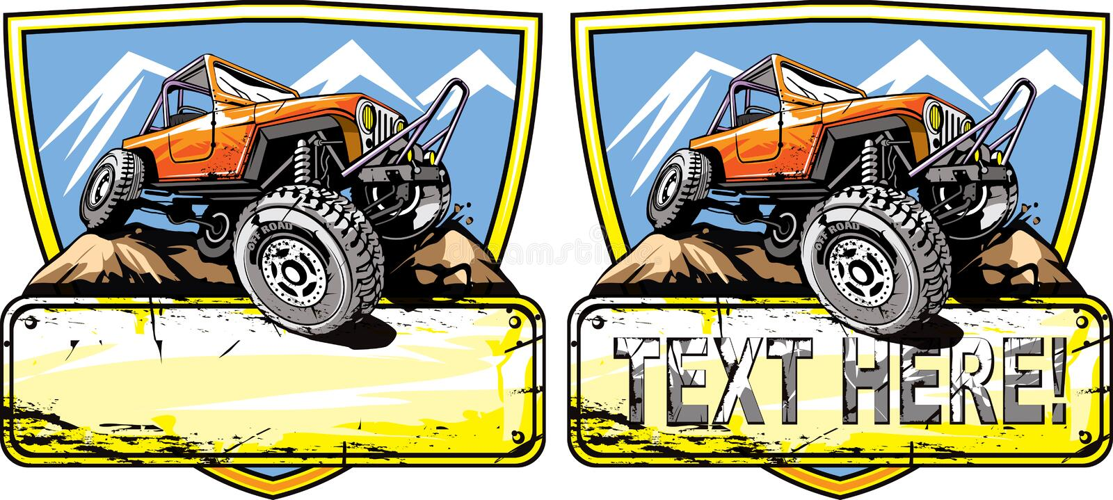 Off road vehicle. Vector illustration of of-road vehicle logo design stock illustration