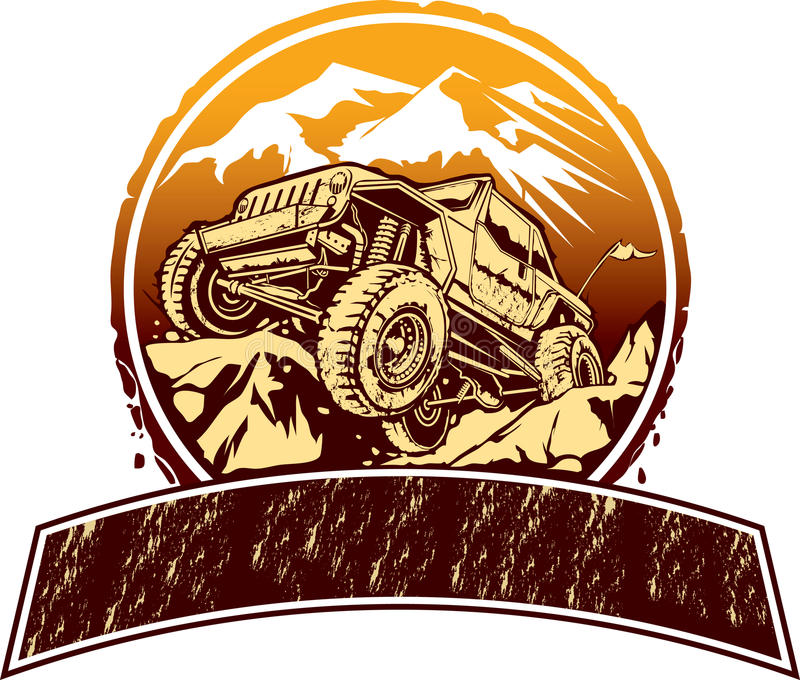 Off-road vehicle. Vector illustration of rock crawling off-road vehicle for logo design