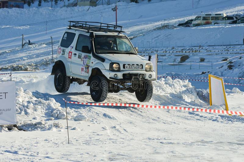Off-road vehicles during the annual competitions in the jeep stock images