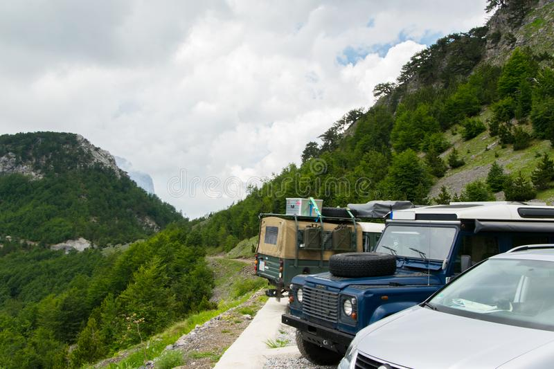 Off-road vehicles in the high mountain royalty free stock photo