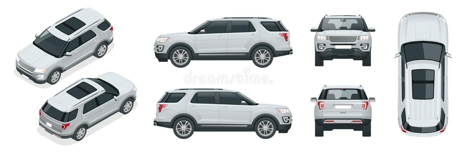 Off-road write car Modern VIP transport. Offroad truck template vector isolated car on white View front, rear, side, top. And isometry front, back Change the stock illustration