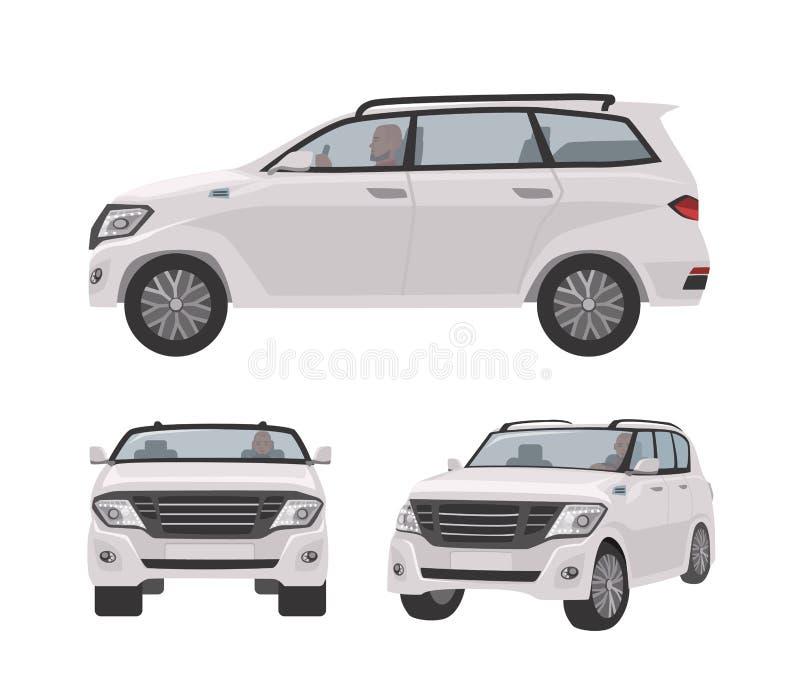 Off-roader branco, carro de CUV ou automóvel isolado no fundo branco Veículo motorizado luxuoso elegante para o curso fora de est ilustração stock