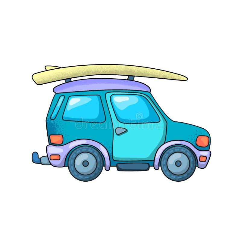 Off-roader i surfing deska SUV dżip lub Podróż pojazdu wektorowa ilustracja na białym tle ilustracji