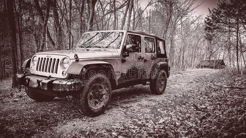 Off-roading in a Jeep Unlimited royalty free stock image