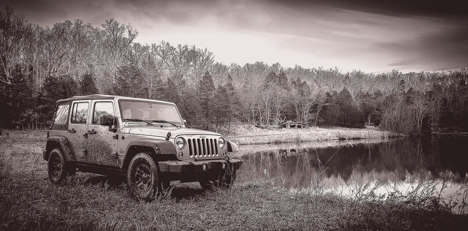 Off-roading in a Jeep Unlimited royalty free stock photos