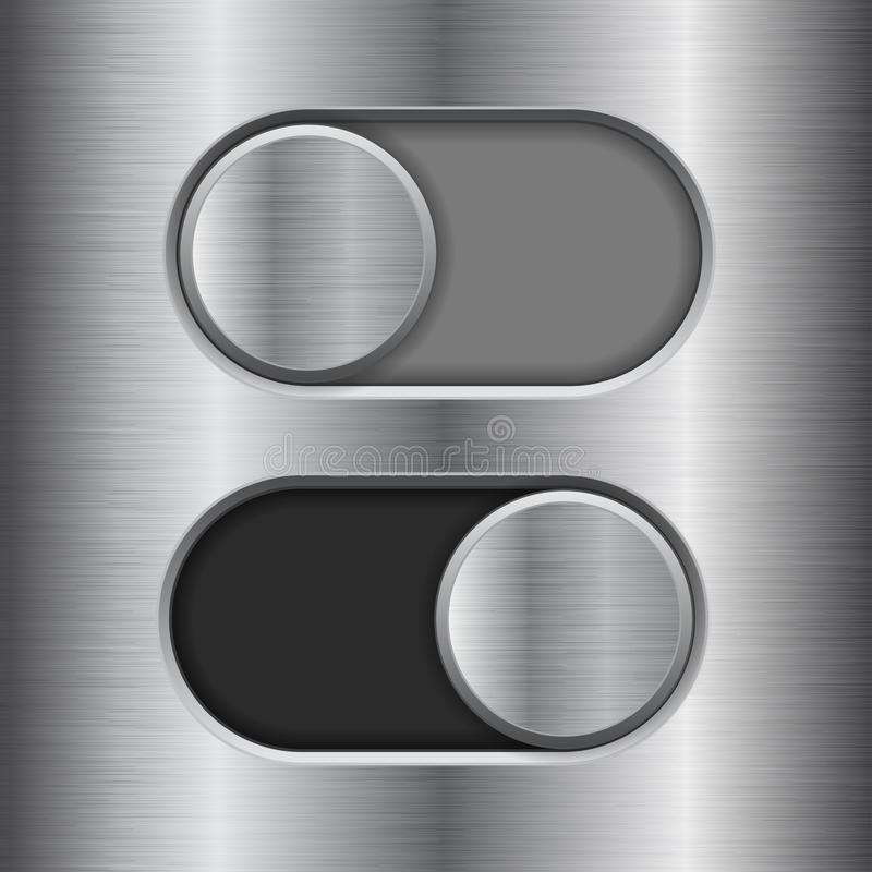On and Off round slider buttons. Metal switch interface buttons on iron background. Vector 3d illustration stock illustration