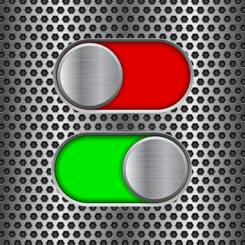 On and Off round slider buttons. Red and green metal switch interface buttons on perforated background. Vector 3d illustration royalty free illustration