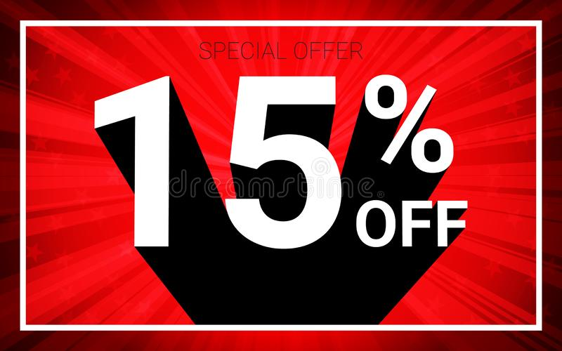 15% OFF Sale. White color 3D text and black shadow on red burst background design. stock illustration