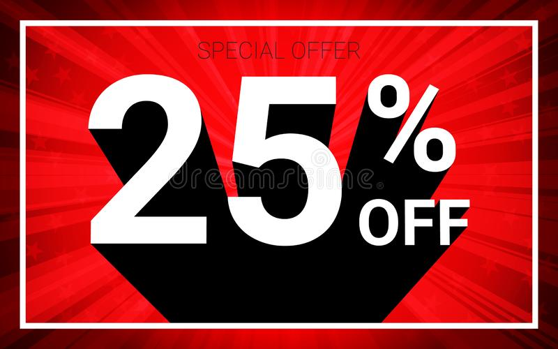 25% OFF Sale. White color 3D text and black shadow on red burst background design. vector illustration