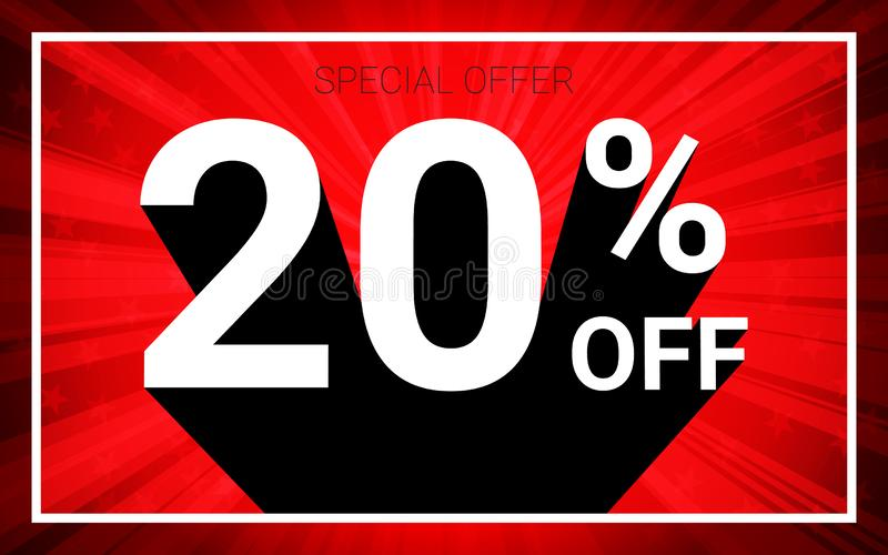 20% OFF Sale. White color 3D text and black shadow on red burst background design. royalty free illustration