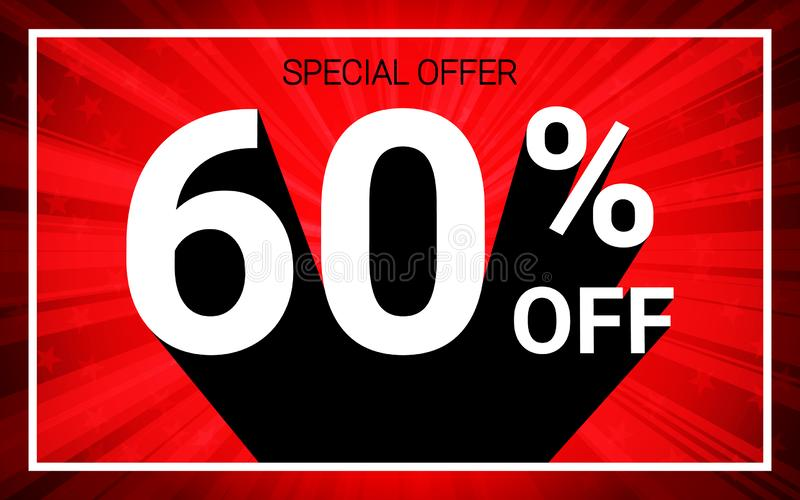 60% OFF Sale. White color 3D text and black shadow on red burst background design. vector illustration
