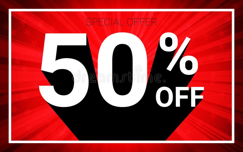50% OFF Sale. White color 3D text and black shadow on red burst background design. Discount special offer promo advertising concept vector illustration royalty free illustration