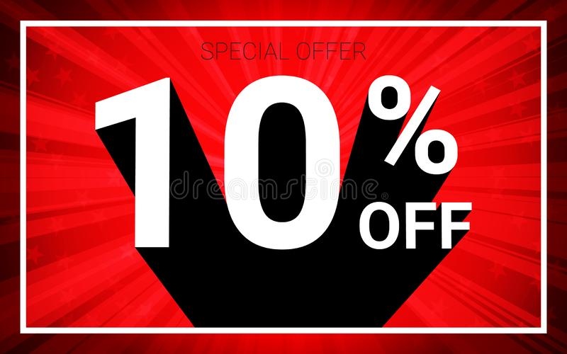 10% OFF Sale. White color 3D text and black shadow on red burst background design. vector illustration