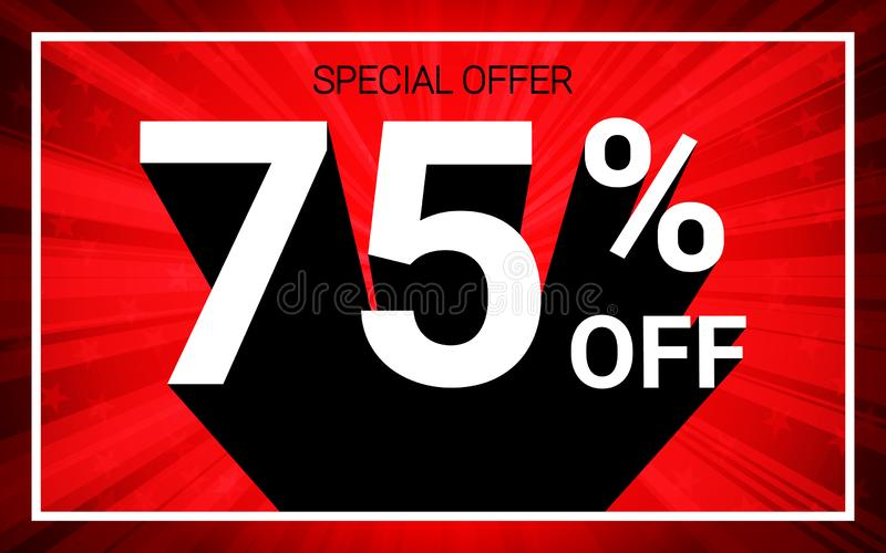 75% OFF Sale. White color 3D text and black shadow on red burst background design. vector illustration