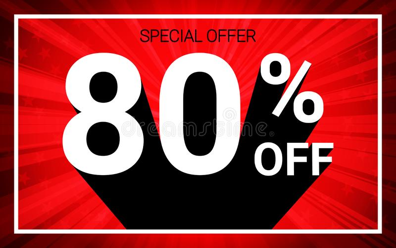 80% OFF Sale. White color 3D text and black shadow on red burst background design. vector illustration