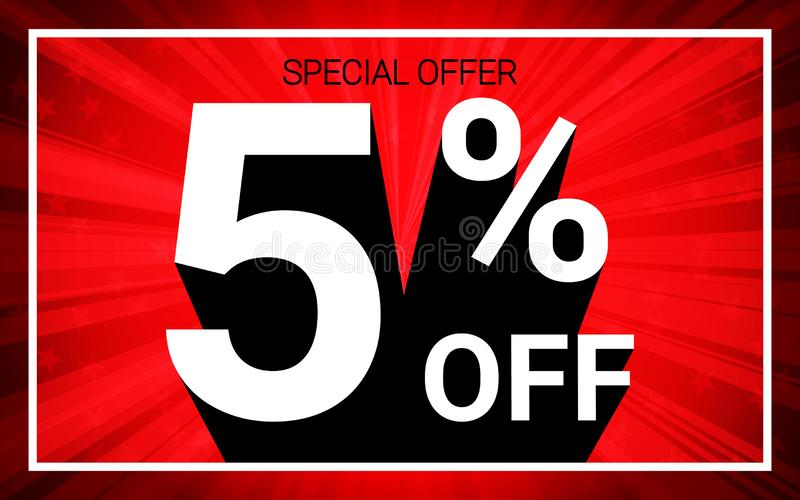 5% OFF Sale. White color 3D text and black shadow on red burst background design stock illustration
