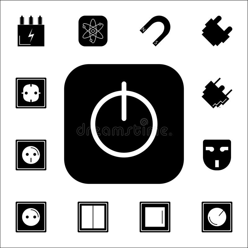 On/Off schakelaarpictogram Reeks Energiepictogrammen Grafische het ontwerppictogrammen van de premiekwaliteit Tekens en symboleni stock illustratie