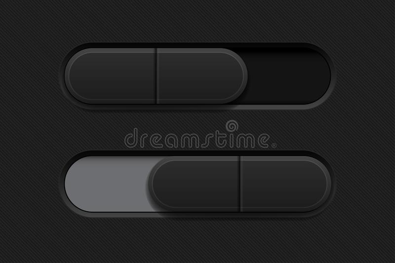 On and Off slider buttons. Black 3d oval icons. Vector illustration stock illustration