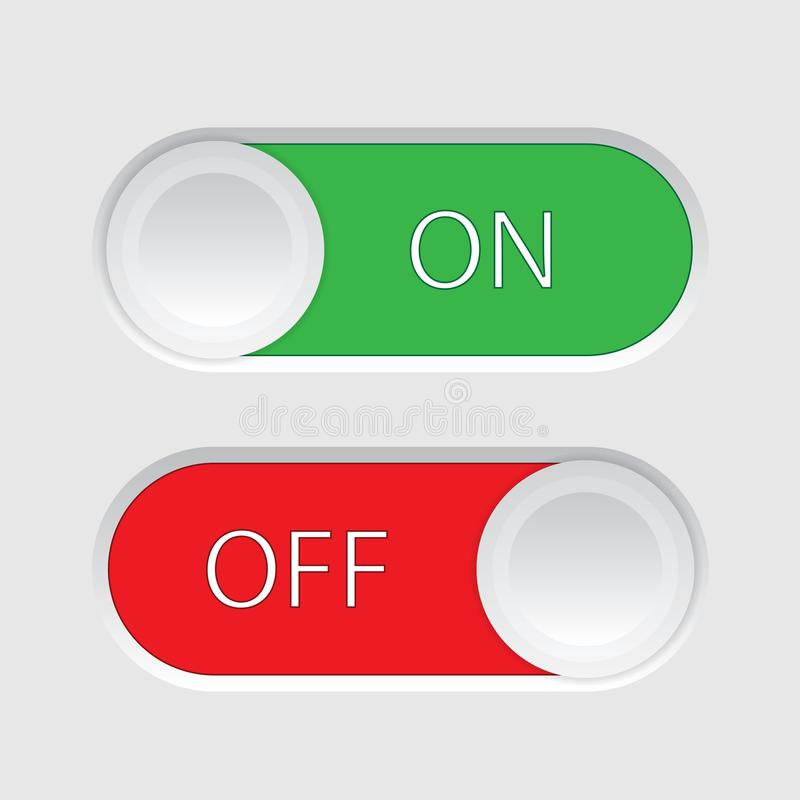 On and Off slider buttons. Isolated on a white background stock illustration
