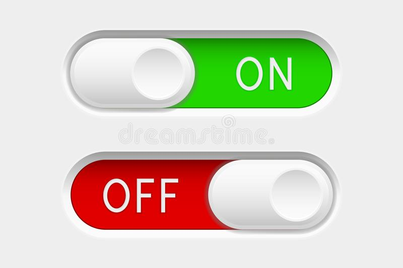 On and Off slider buttons. Red and green switch interface buttons. Vector 3d illustration royalty free illustration