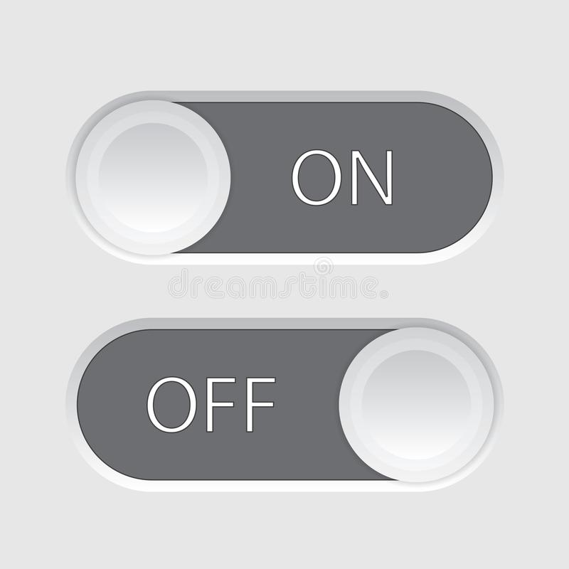 On and Off slider. Buttons isolated on a white background vector illustration