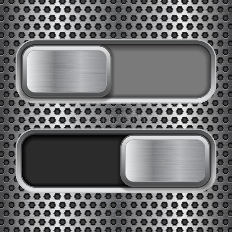 On and Off square slider buttons. Metal switch interface buttons on perforated background. Vector 3d illustration royalty free illustration