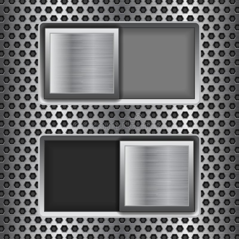 On and Off square slider buttons. Metal switch interface buttons on perforated background stock illustration