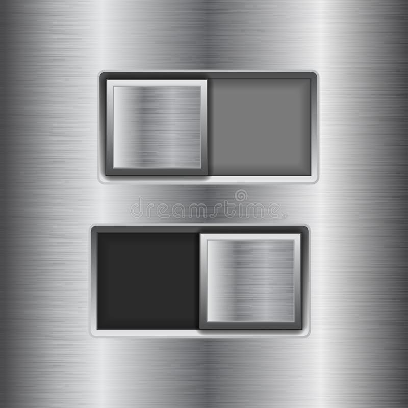 On and Off square slider buttons. Metal switch interface buttons on stainless steel background. Vector 3d illustration vector illustration
