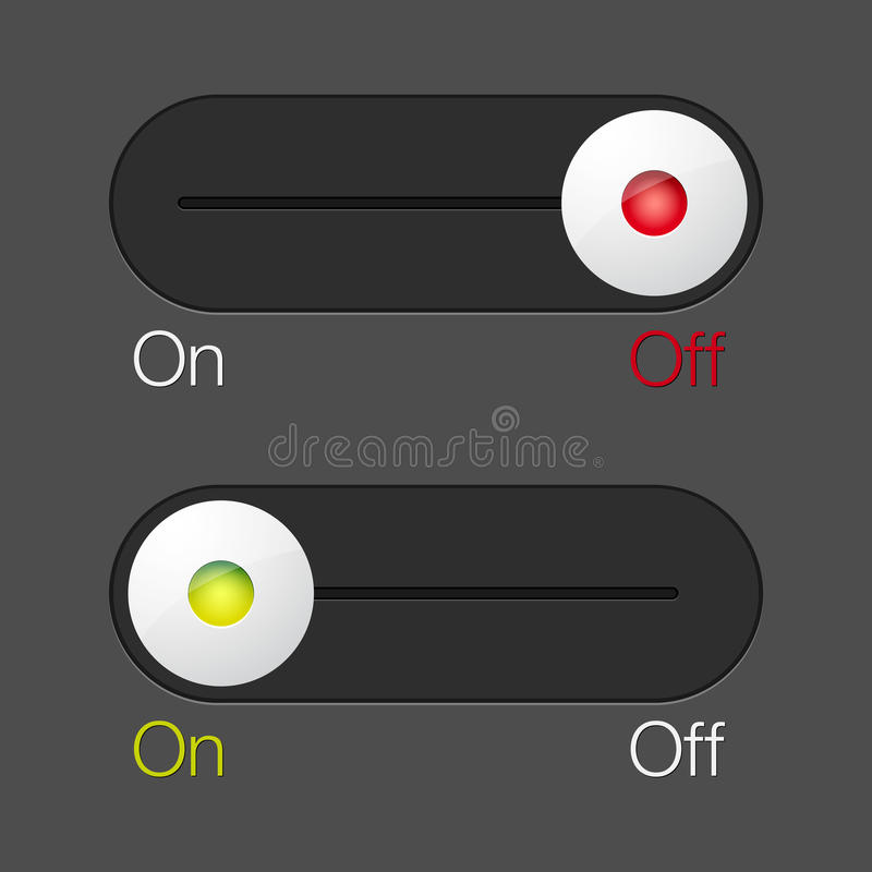 Download ON/OFF switch buttons stock vector. Image of slider, design - 22644744