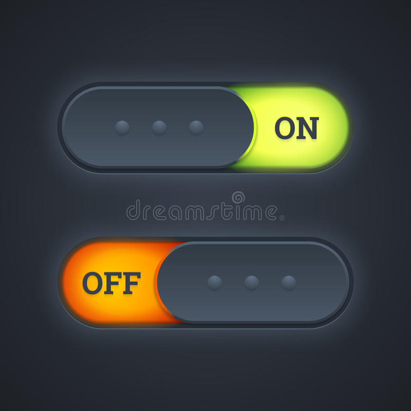 On and off switch toggle buttons with green and red lights. Vector illustration. stock illustration