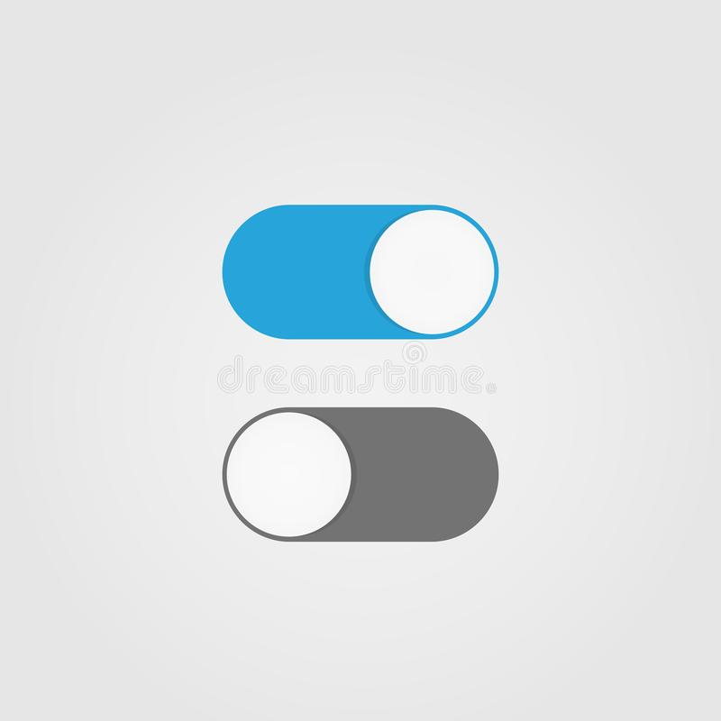 On and Off switch toggle. Simple flat icon design vector illustration