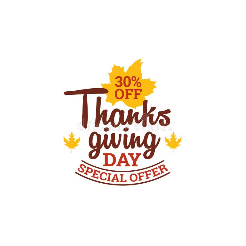 30% off thanksgiving day special offer. typography with autumn fall dry leaf vector illustration. Element for online shop web, banner, poster, flyer design vector illustration