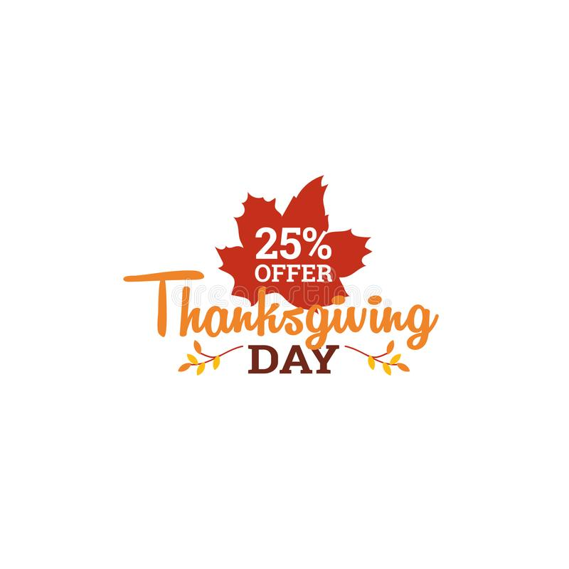 25% off thanksgiving sale day badge. typography with autumn fall dry leaf vector illustration. Element for online shop web, banner, poster, flyer design stock illustration