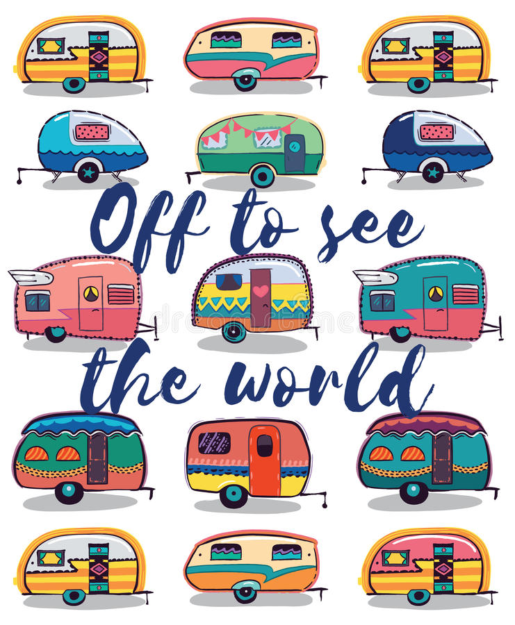 Off to see the world. Happy Camper Card stock illustration