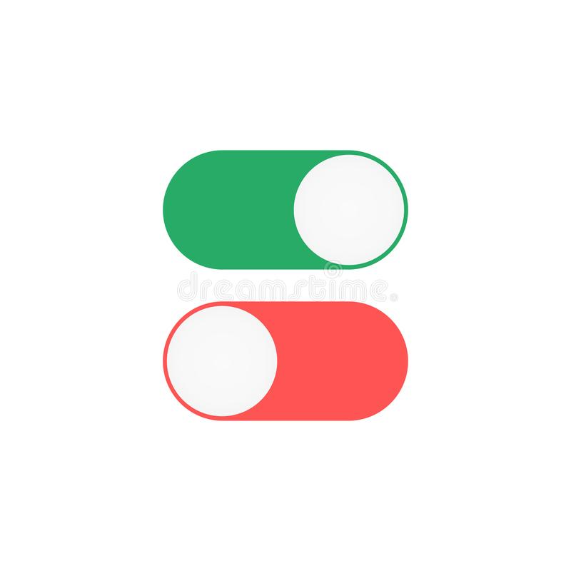 On Off toggle icon. Green and red switches stock illustration