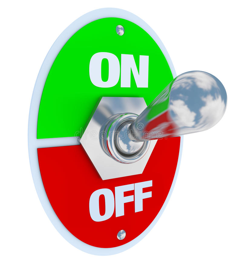 On and Off - Toggle Switch. A metal toggle switch with plate reading On and Off, flipped in the On position vector illustration