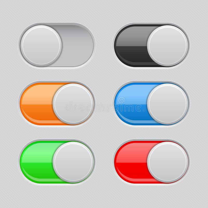 On and Off toggle switch buttons. Colored set of 3d slider icons. Vector illustration stock illustration