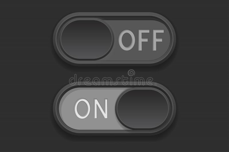 On and Off toggle switch buttons. Vector 3d illustration royalty free illustration