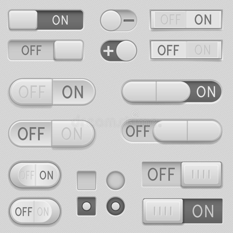 On and Off toggle switch slider buttons. Interface icons set. Vector 3d illustration stock illustration