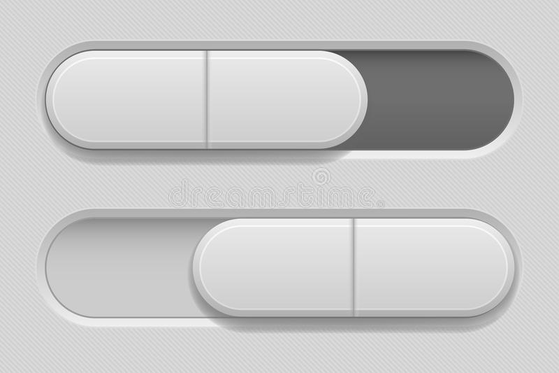 On and Off toggle switch slider buttons. Oval icons. Vector 3d illustration vector illustration