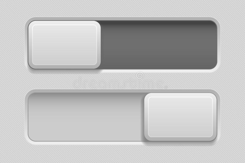 On and Off toggle switch slider buttons. Rectangle icons. Vector 3d illustration royalty free illustration