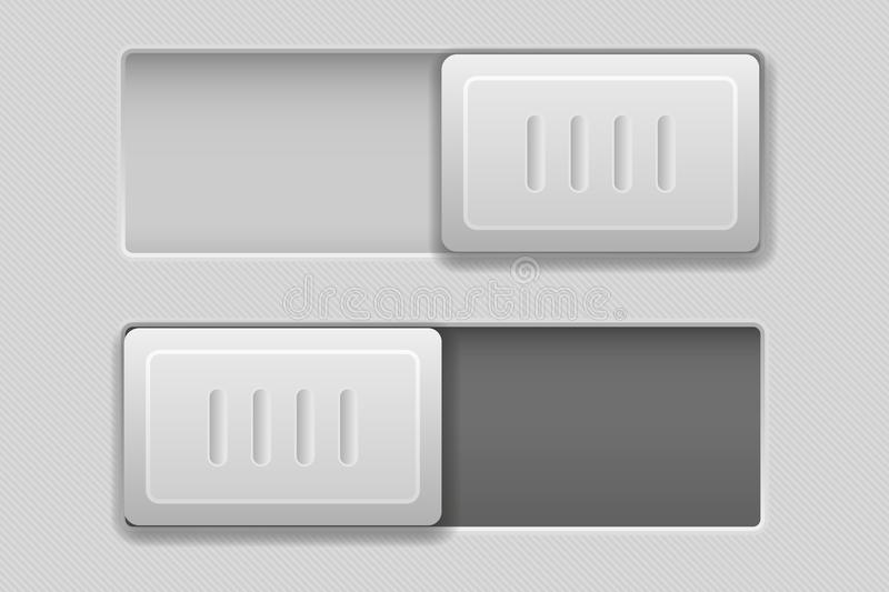 On and Off toggle switch slider buttons. Rectangle icons. Vector 3d illustration stock illustration