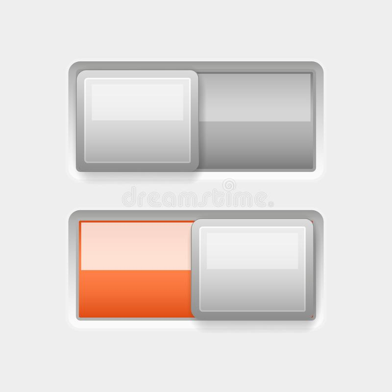On and Off white plastic slider buttons with orange element. Vector 3d illustration vector illustration