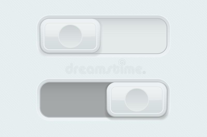 On and Off white plastic slider buttons royalty free illustration