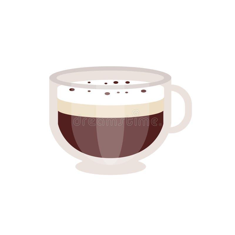 offee avec la mousse crème dans l'illustration en verre de vecteur de tasse de café illustration libre de droits