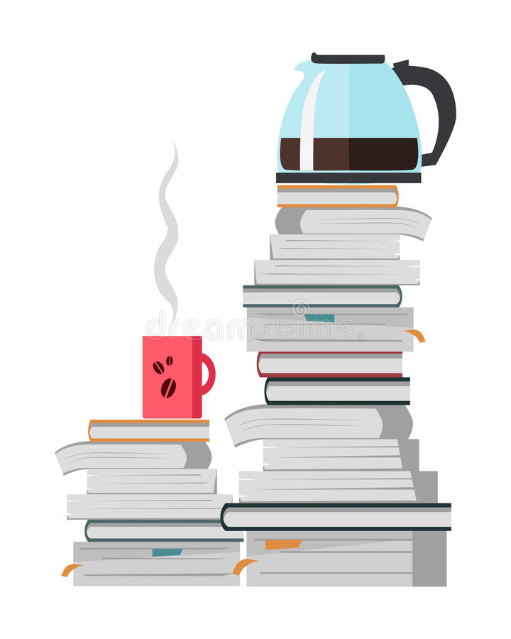 Offee Pot and Cup of Coffee on the Heap of Books. Offee pot and cup of strong hot coffee on the heap of books on white. Teapot for brewing and pouring tea. Make vector illustration